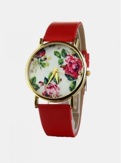 Ženska ura Geneva Flowered Rdeča