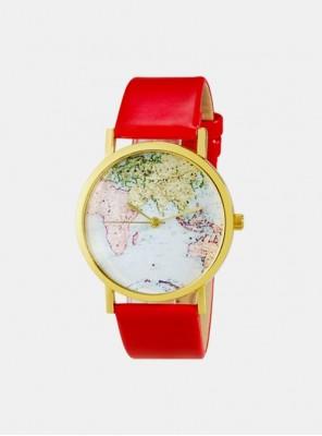 Ženska ura map print rdeča